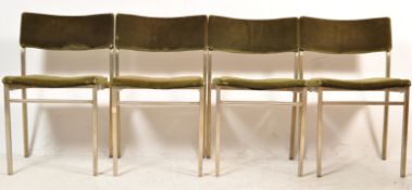 FOUR VINTAGE RETRO 20TH STACKING DINING CHAIRS.