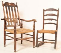 GEORGE II 18TH CENTURY RECLINING NORTH COUNTRY CHAIR WITH ANOTHER