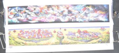 PAIR OF GRAFFITI ART PRINTS AFTER BRISTOL ARTISTS SOKER, MR JAGO AND DEAMZE.