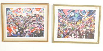 PAIR OF URBAN GRAFFITI ART PRINTS BY BRISTOL STREET ARTIST MINTO.