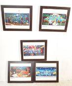 FIVE GRAFFTI ART PRINTS AFTER BRISTOL STREET ARTIST BANKSY.