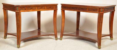 TWO CROSSBANDED REGENCY REVIVAL SIDE TABLES