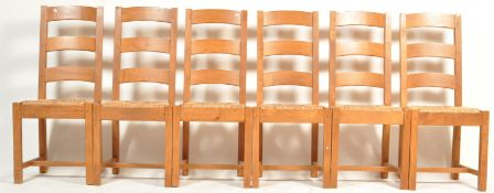 SET OF SIX FRENCH REVIVAL BEECH AND ELM LADDERBACK DINING CHAIRS