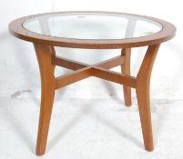 DANISH INSPIRED TEAK WOOD VENEER AND GLASS COFFEE TABLE