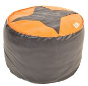 MID CENTURY LEATHER UPHOLSTERED FOOTSTOOL POUFFE