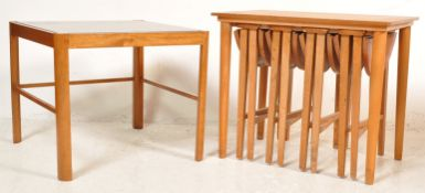 TEAK WOOD NEST OF TABLES AFTER POUL HUNDEVAD AND GLASS COFFEE TABLE
