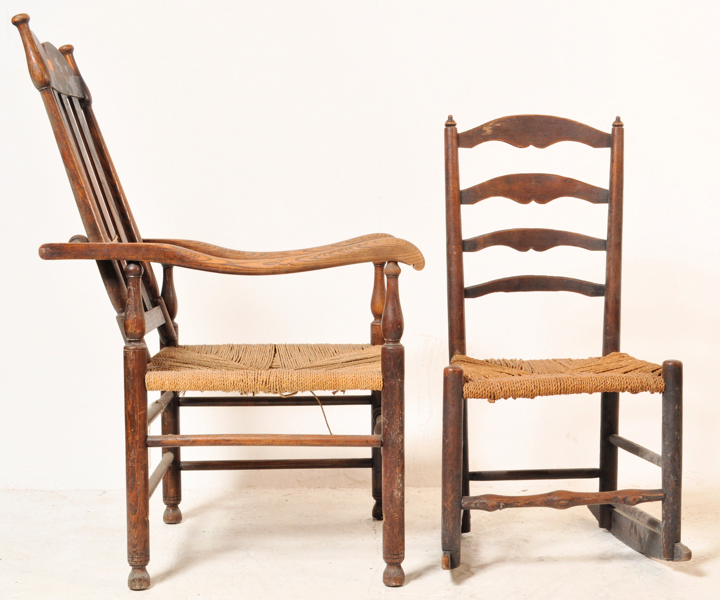 GEORGE II 18TH CENTURY RECLINING NORTH COUNTRY CHAIR WITH ANOTHER - Image 2 of 7
