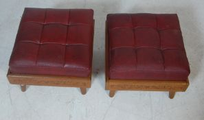 TWO 20TH CENTURY HAND CARVED FOOTSTOOLS