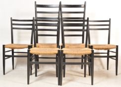 SET OF FOUR RUSH SEATS AND BLACK FRAME DINING CHAIRS