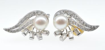 VINTAGE FRENCH WHITE GOLD DIAMOND AND PEARL CLIP ON EARRINGS
