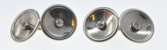 FRENCH GOLD AND DIAMOND CUFFLINKS