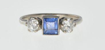 ANTIQUE SAPPHIRE AND DIAMOND THREE STONE RING