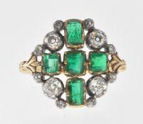ANTIQUE EMERALD AND DIAMOND CROSS RING