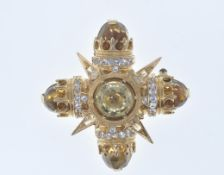 GOLD AND CITRINE CROSS BROOCH