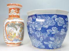 20TH CENTURY CHINESE PLANTER, TOGETHER WITH DECORATIVE CHINESE VASE.