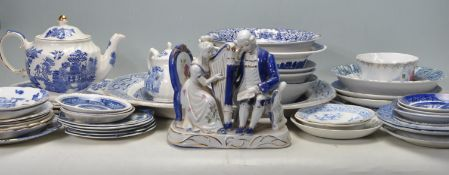 LARGE COLLECTION OF 20TH CENTURY BLUE AND WHITE CERAMIC DINNER WARE