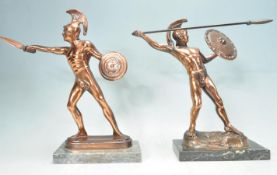 PAIR OF 20TH CENTURY ANTIQUE STYLE SPARTA GREEK SOLDIER FIGURES.
