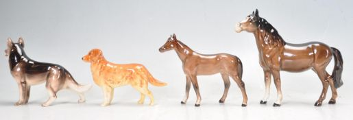 COLLECTION OF BESWICK AND SIMILAR DOG AND HORSE FIGURES.