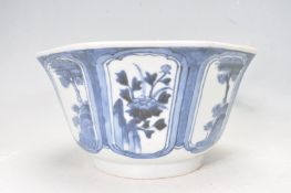 19TH CENTURY ORIENTAL BLUE AND WHITE BOWL