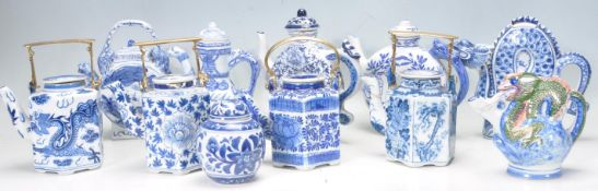 TEN CHINESE BLUE AND WHITE TEA POTS