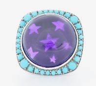 DANISH 18CT GOLD AMETHYST & TURQUOISE COCKTAIL RING