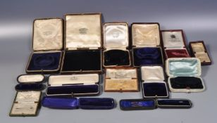 GROUP OF VINTAGE TOOLED LEATHER JEWELLERY BOXES