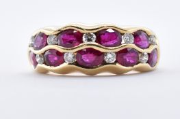 18CT GOLD AND RUBY & DIAMOND BAND RING