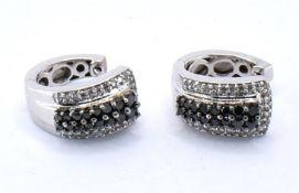 PAIR OF 9CT WHITE GOLD AND DIAMOND HOOP EARRINGS