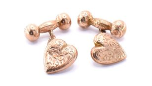 PAIR OF 9CT GOLD HEART CUFFLINKS