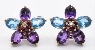 18CT GOLD TOPAZ AMETHYST DIAMOND CLUSTER EARRINGS