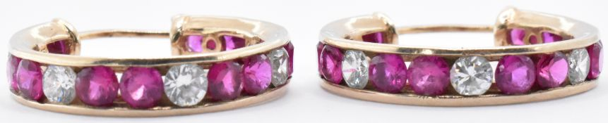 9CT GOLD RUBY AND WHITE STONE HOOP EARRINGS