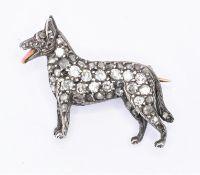 DIAMOND AND ENAMELLED DOG BROOCH IN ASPREY BOX