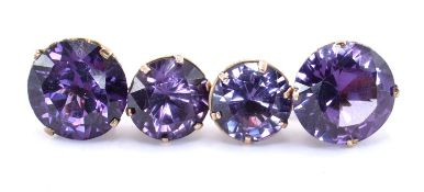 PAIR OF GOLD SYNTHETIC COLOUR CHANGE SAPPHIRE CUFFLINKS