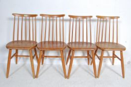 SET OF FOUR RETRO VINTAGE BEECH AND ELM DINING CHAIRS