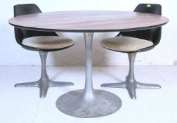 1960'S SCANDINAVIAN TULIP TABLE AND TWO CHAIRS