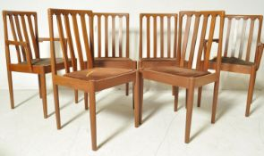 SIX DANISH INSPIRED TEAK WOOD FRAME DINING CHAIRS BY MEREDEW