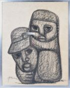 1970'S SOUTH AFRICAN ABSTRACT CHARCOAL DRAWING ON CARD