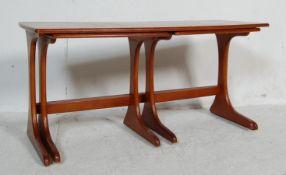VINTAGE RETRO DANISH INSPIRED TEAK WOOD NEST OF TABLES