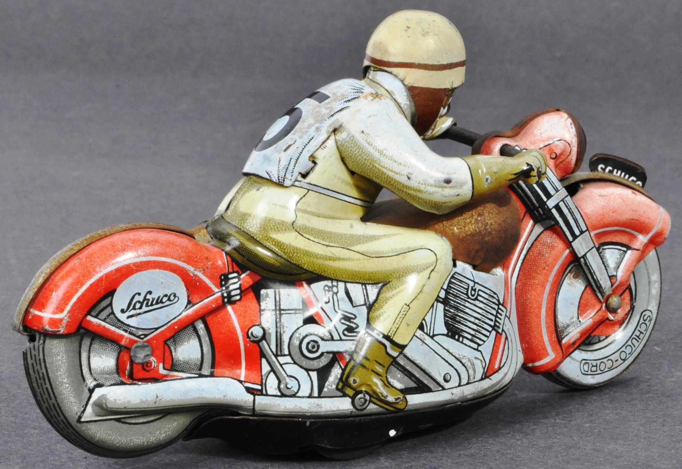 ORIGINAL VINTAGE SCHUCO TINPLATE RACING MOTORCYCLE - Image 2 of 8