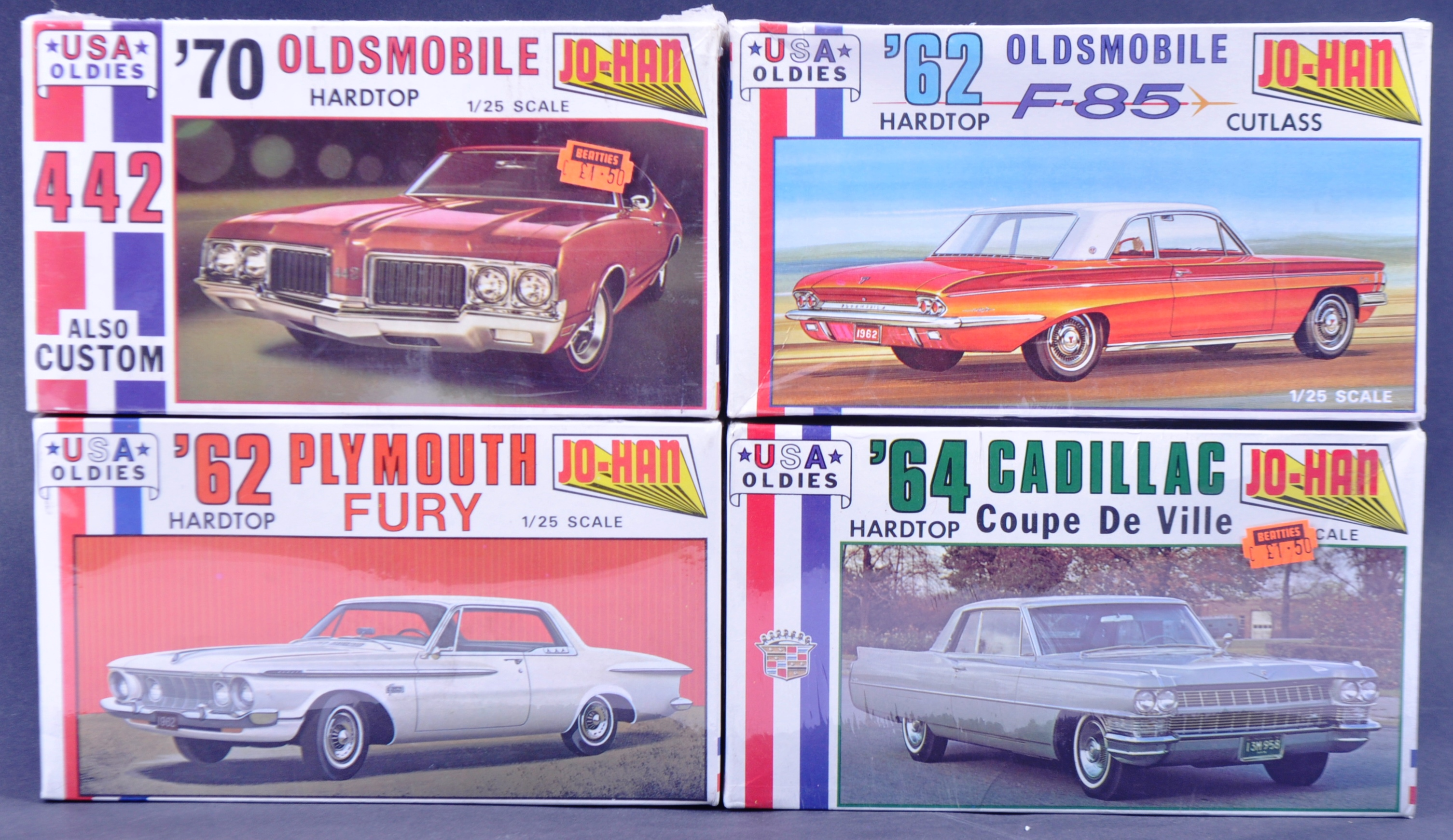 COLLECTION OF X4 VINTAGE JO-HAN FACTORY SEALED MODEL KITS