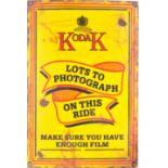 VINTAGE 1950S RAILWAY KODAK ADVERTISING ENAMEL SIGN