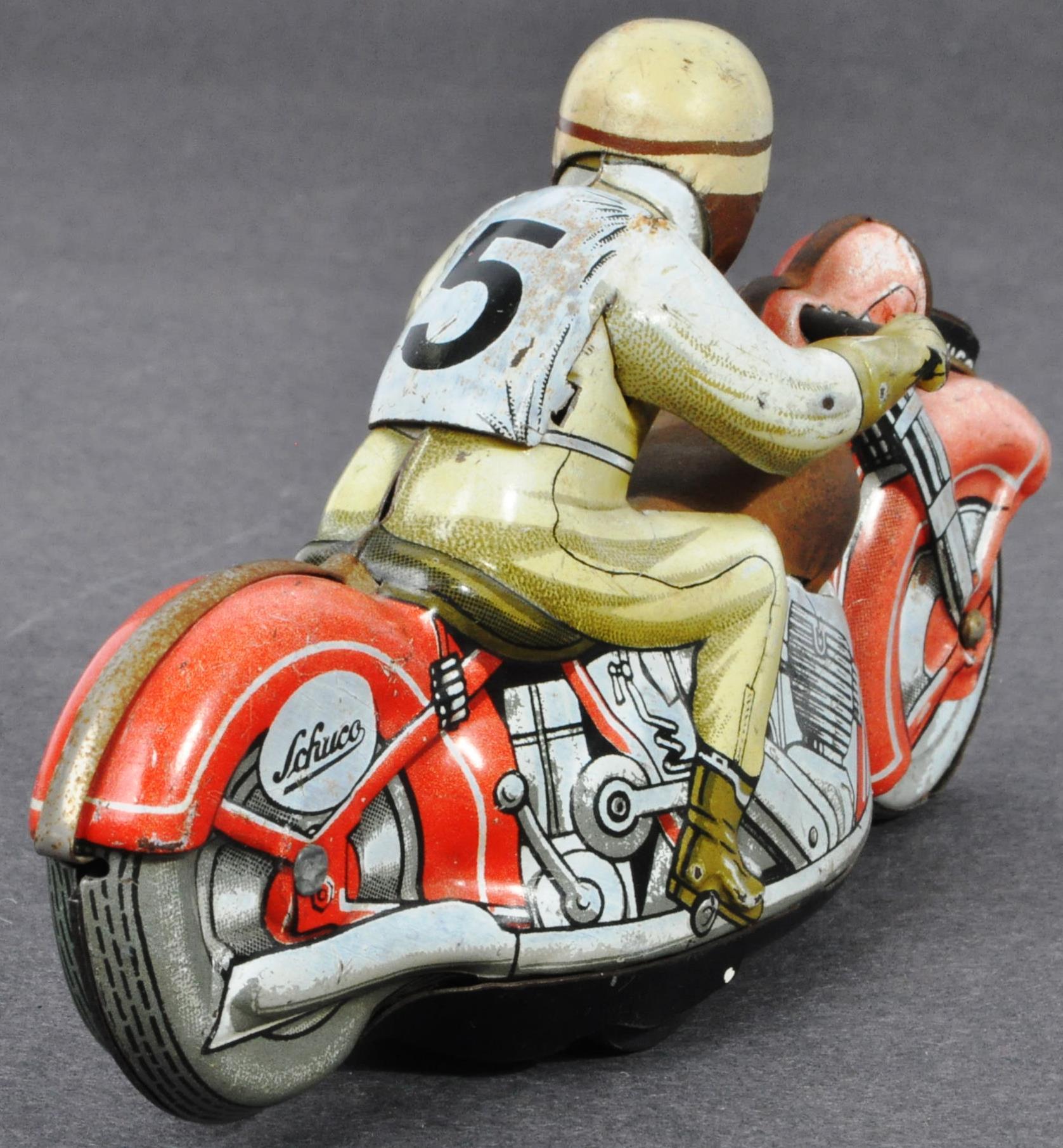 ORIGINAL VINTAGE SCHUCO TINPLATE RACING MOTORCYCLE - Image 4 of 8