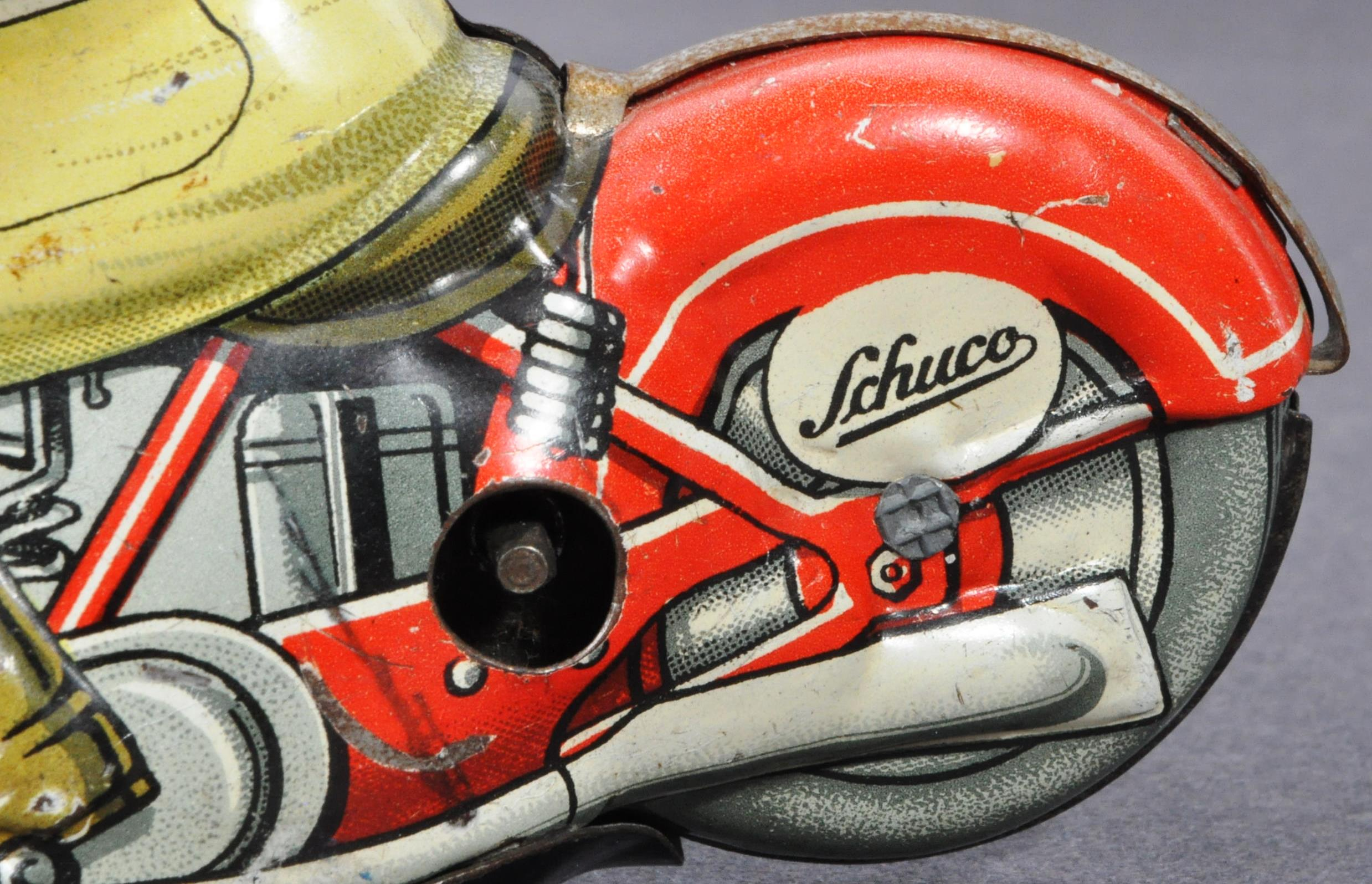 ORIGINAL VINTAGE SCHUCO TINPLATE RACING MOTORCYCLE - Image 8 of 8