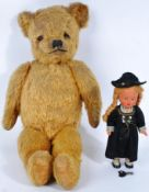 VINTAGE ENGLISH TEDDY BEAR AND GERMAN SCHUCO DOLL