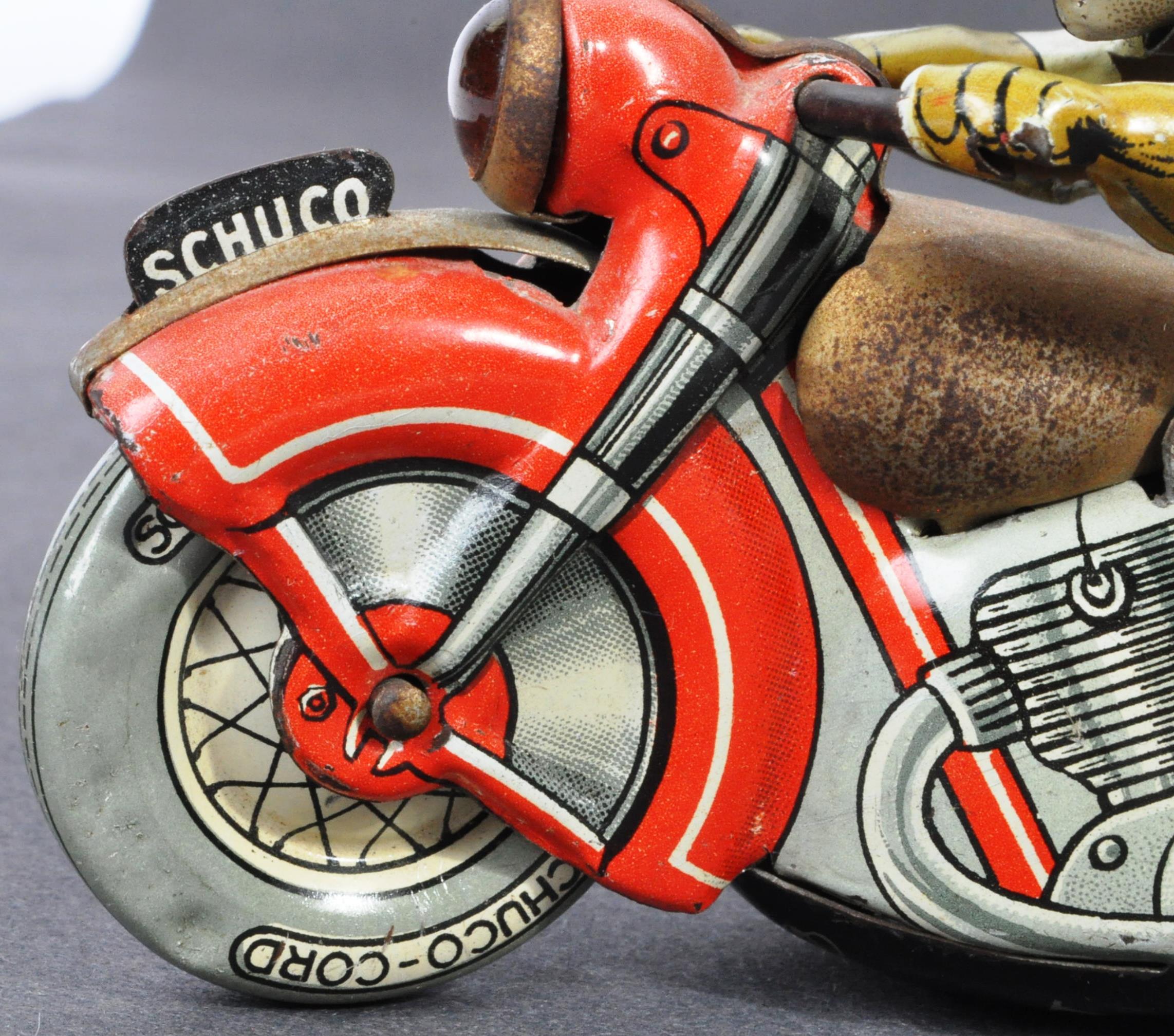 ORIGINAL VINTAGE SCHUCO TINPLATE RACING MOTORCYCLE - Image 7 of 8