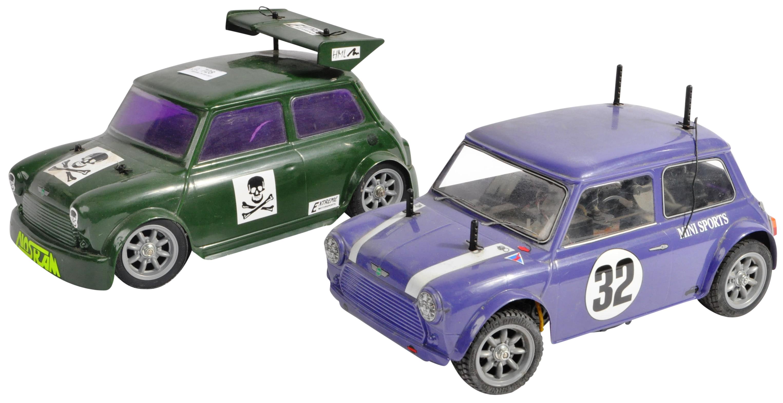 TAMIYA - TWO VINTAGE MINI COOPER RACING RC RADIO CONTROLLED CARS