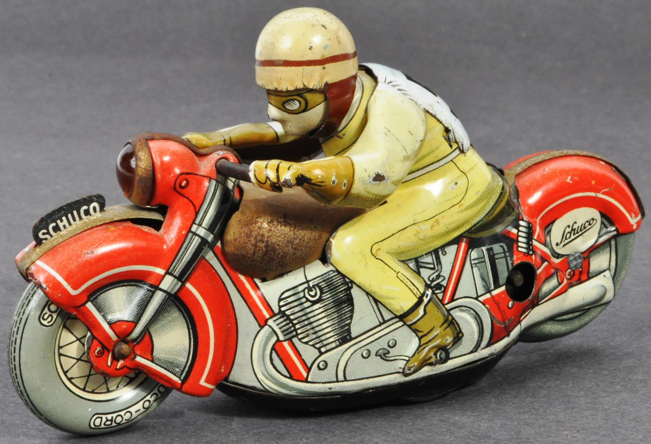 ORIGINAL VINTAGE SCHUCO TINPLATE RACING MOTORCYCLE