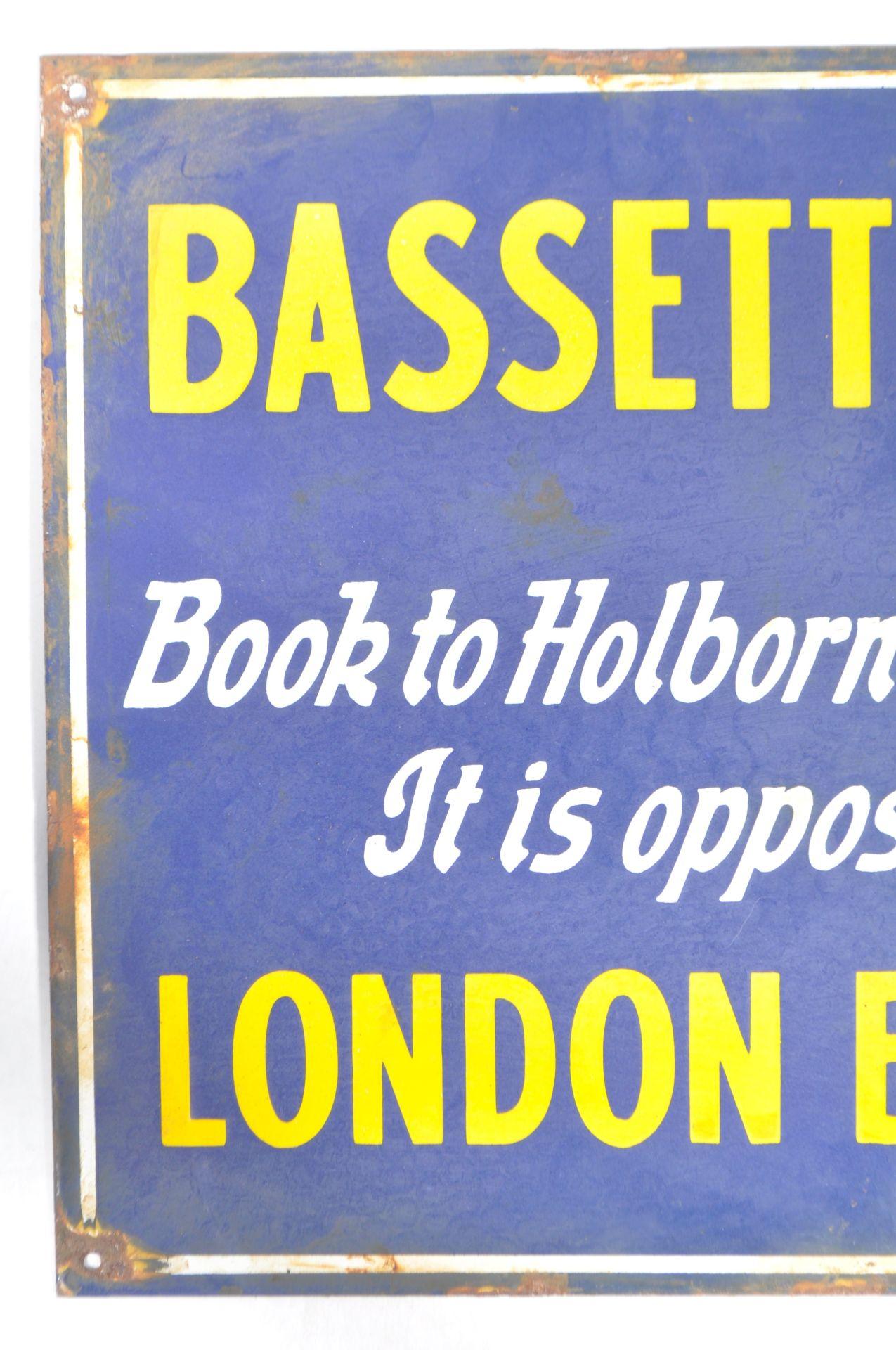 RARE ANTIQUE BASSETT LOWKE ENAMEL ADVERTISING SIGN - Image 2 of 4