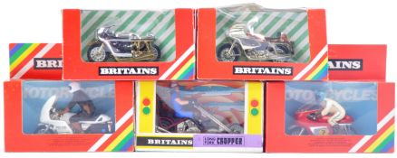 COLLECTION OF X5 BRITAINS MADE DIECAST MOTOR CYCLES
