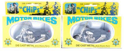 TWO ORIGINAL VINTAGE MGM ' CHIPS ' DIECAST MODEL MOTORBIKES